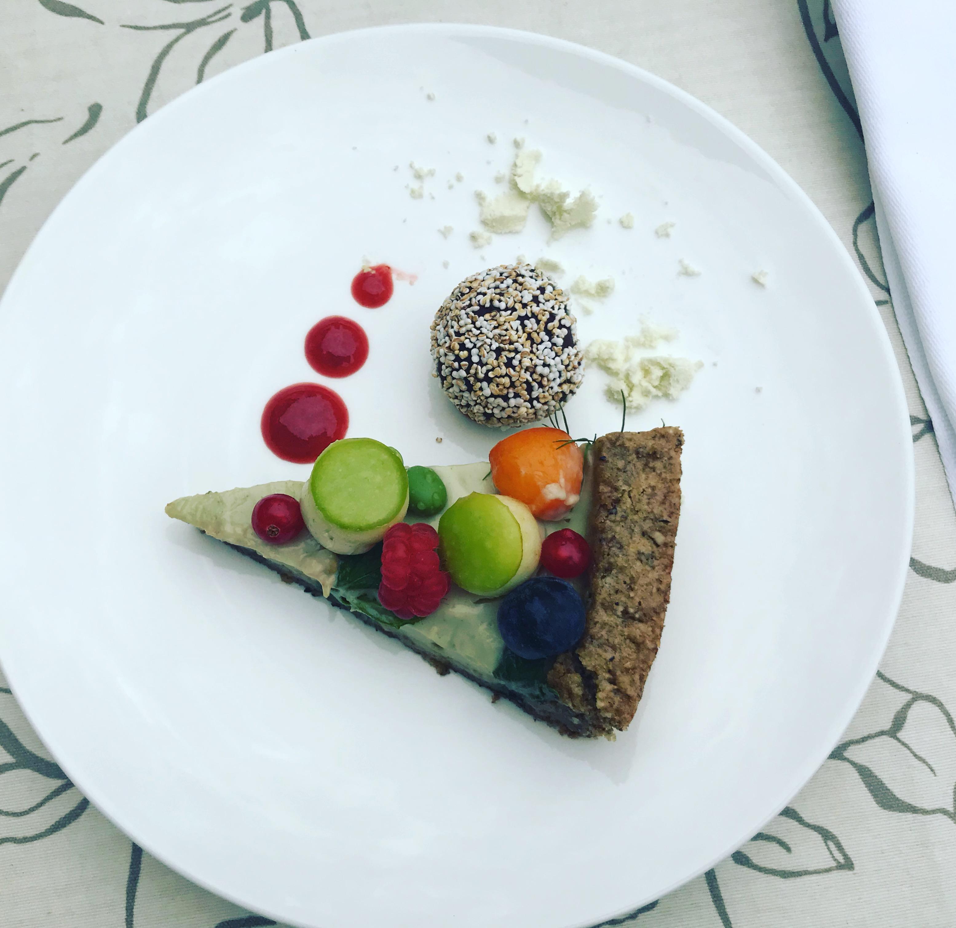 Veganes Dessert im Restaurant La Vimea