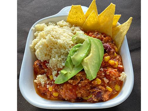 Serviervorschlag für veganes Chili